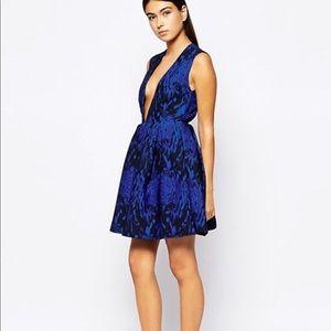 NEW • AQ AQ • Plunge Mini Skater Dress Blue 4